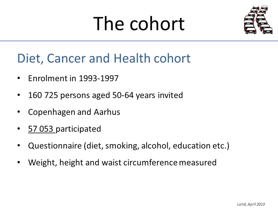 The cohort Diet, Cancer and Health cohort Enrolment in 1993-1997 160 725 persons aged 50-64 years invited Copenhagen and Aarhus 57 053 participated Questionnaire (diet, smoking, alcohol, education etc.) Weight, height and waist circumference measured Lund, April 2013