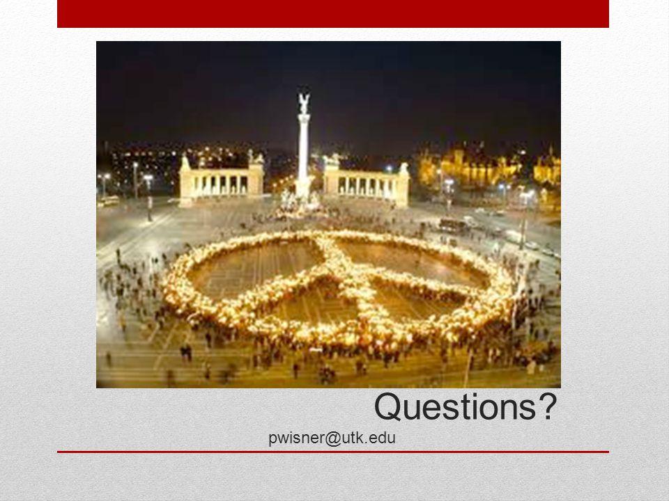 Questions pwisner@utk.edu