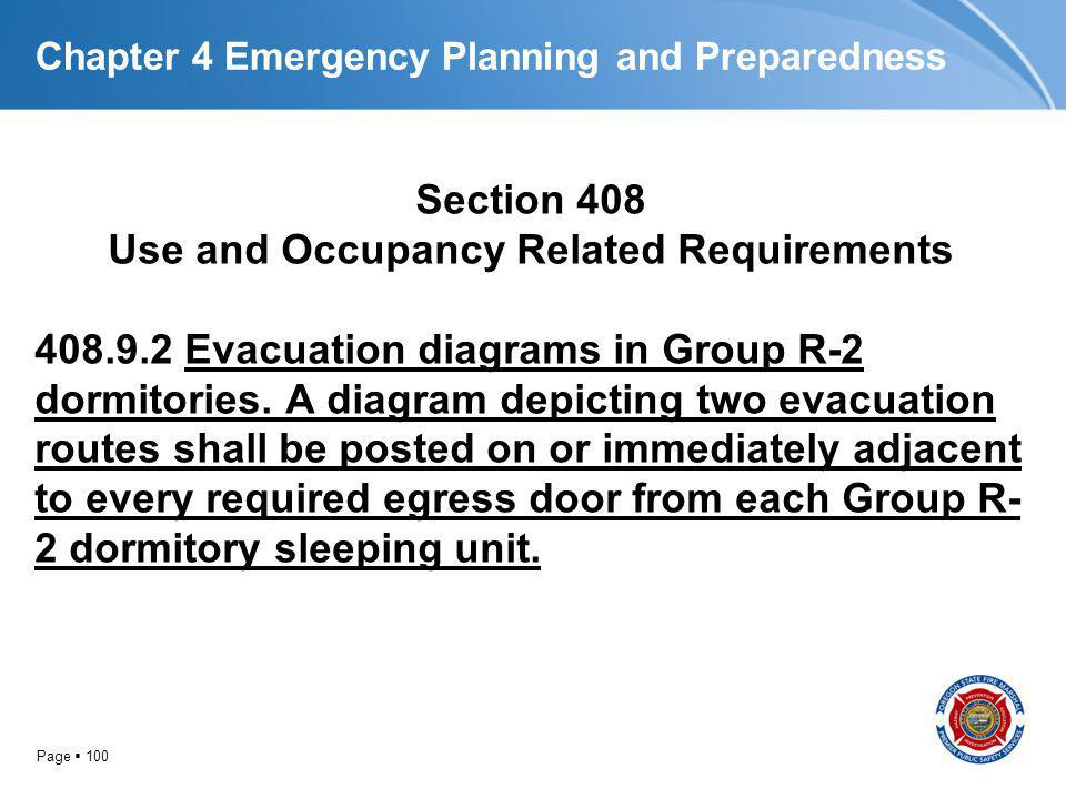 Page 100 Chapter 4 Emergency Planning and Preparedness Section 408 Use and Occupancy Related Requirements 408.9.2 Evacuation diagrams in Group R-2 dor