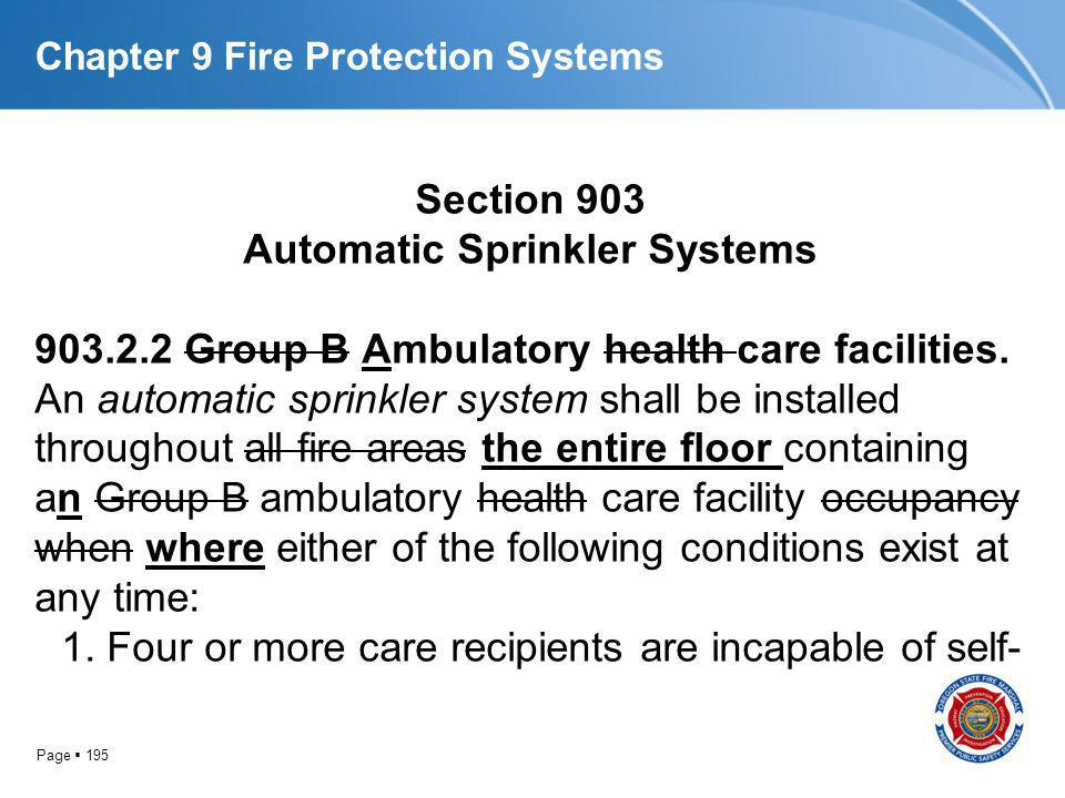 Page 195 Chapter 9 Fire Protection Systems Section 903 Automatic Sprinkler Systems 903.2.2 Group B Ambulatory health care facilities. An automatic spr
