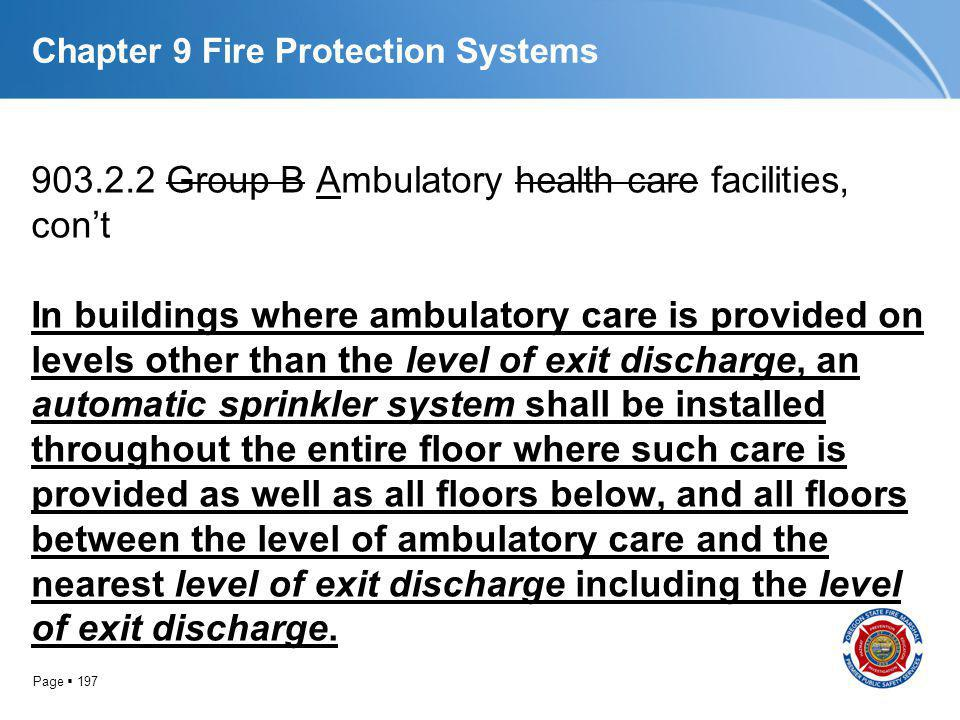 Page 197 Chapter 9 Fire Protection Systems 903.2.2 Group B Ambulatory health care facilities, cont In buildings where ambulatory care is provided on l