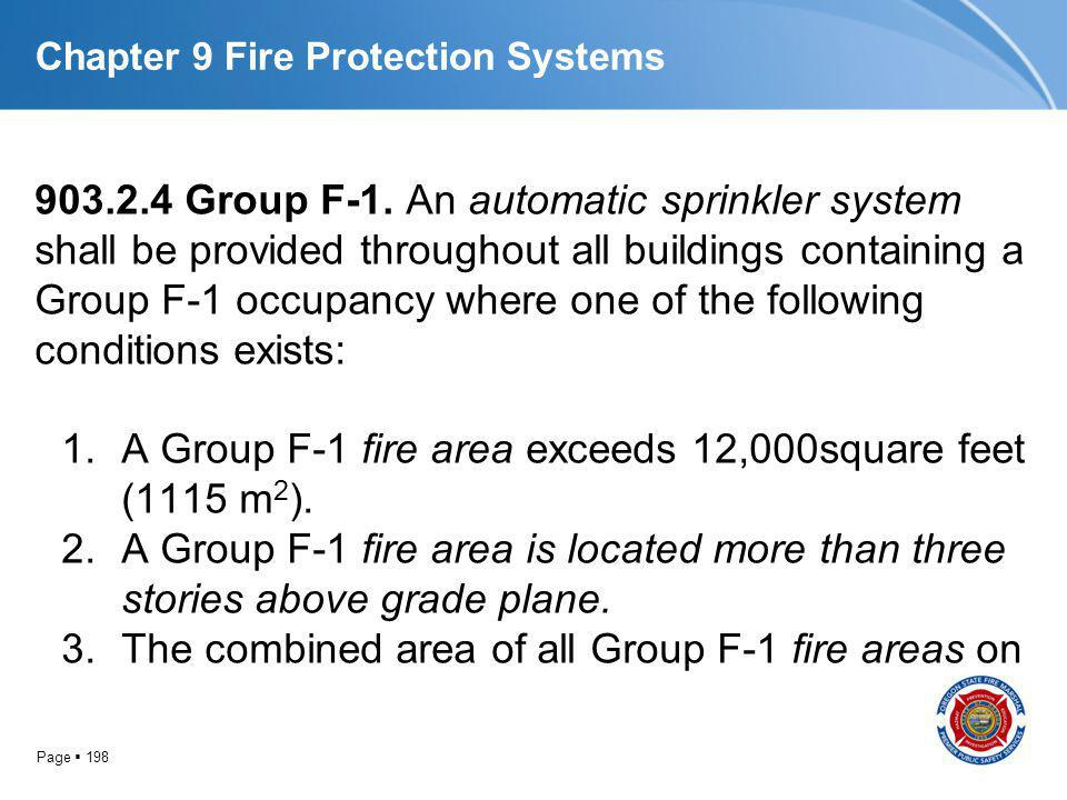 Page 198 Chapter 9 Fire Protection Systems 903.2.4 Group F-1. An automatic sprinkler system shall be provided throughout all buildings containing a Gr