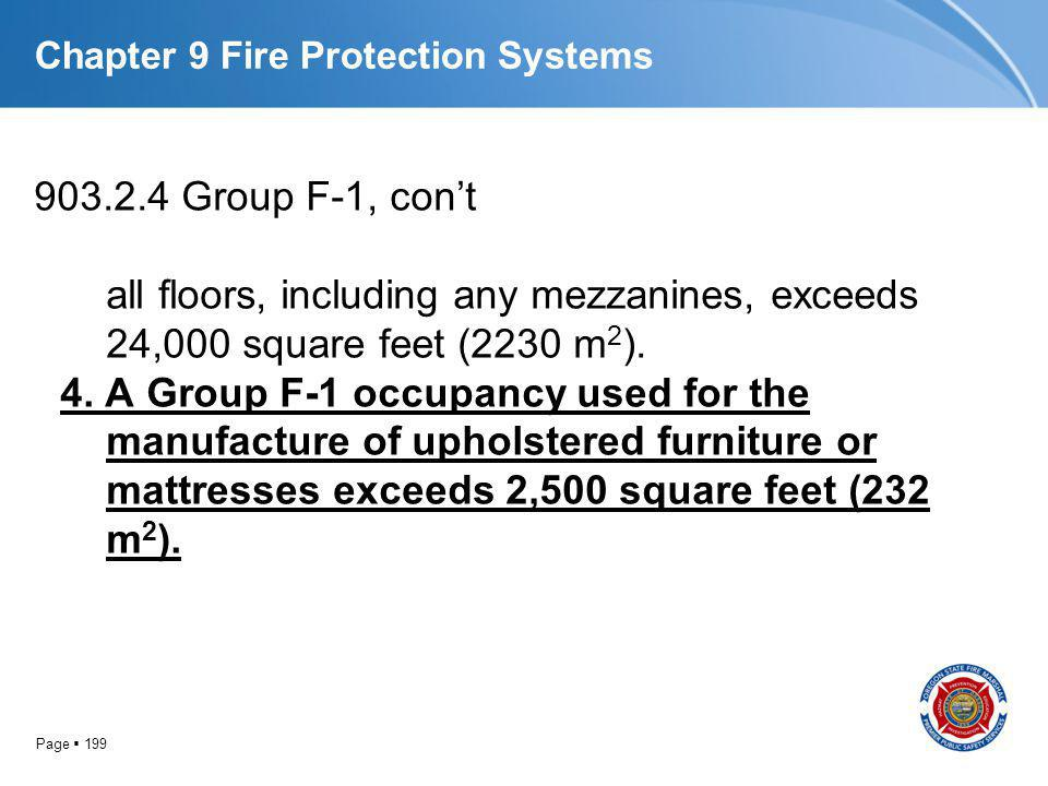 Page 199 Chapter 9 Fire Protection Systems 903.2.4 Group F-1, cont all floors, including any mezzanines, exceeds 24,000 square feet (2230 m 2 ). 4. A