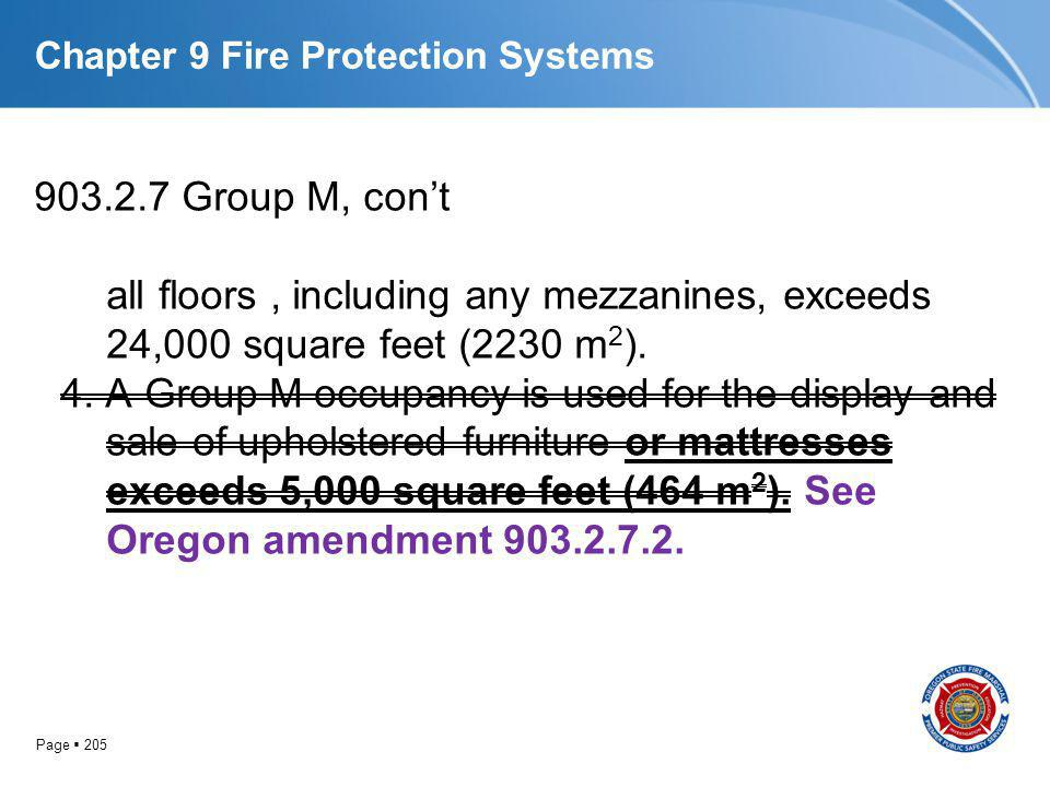 Page 205 Chapter 9 Fire Protection Systems 903.2.7 Group M, cont all floors, including any mezzanines, exceeds 24,000 square feet (2230 m 2 ). 4. A Gr