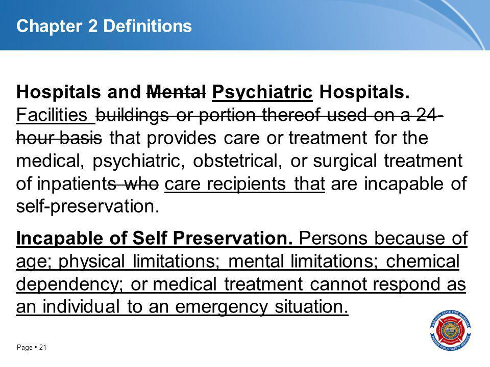 Page 21 Chapter 2 Definitions Hospitals and Mental Psychiatric Hospitals. Facilities buildings or portion thereof used on a 24- hour basis that provid