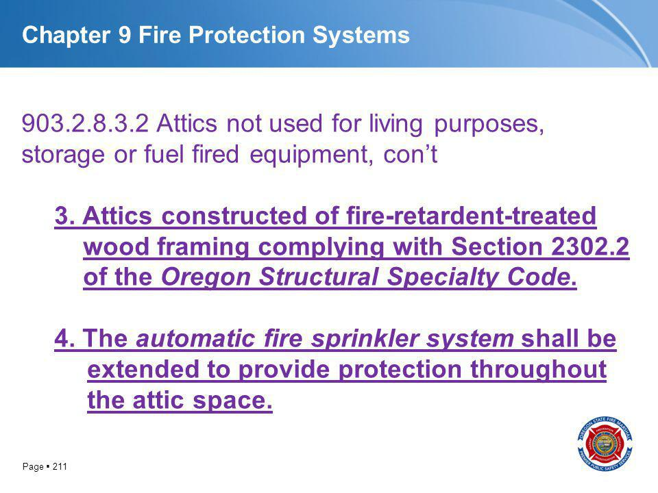 Page 211 Chapter 9 Fire Protection Systems 903.2.8.3.2 Attics not used for living purposes, storage or fuel fired equipment, cont 3. Attics constructe