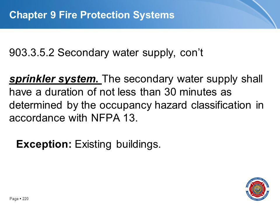 Page 220 Chapter 9 Fire Protection Systems 903.3.5.2 Secondary water supply, cont sprinkler system. The secondary water supply shall have a duration o