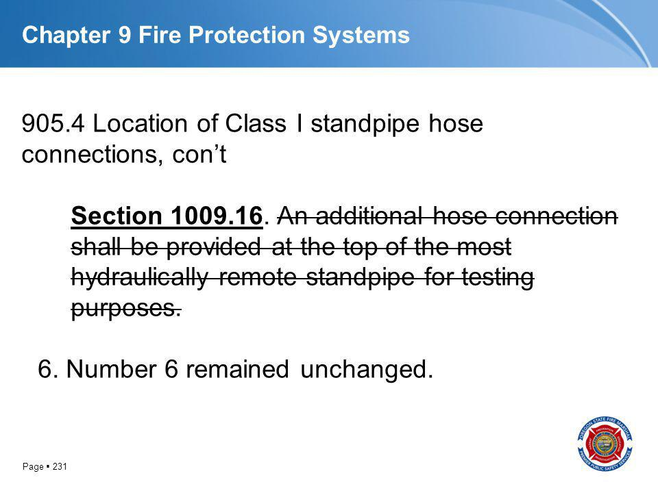 Page 231 Chapter 9 Fire Protection Systems 905.4 Location of Class I standpipe hose connections, cont Section 1009.16. An additional hose connection s