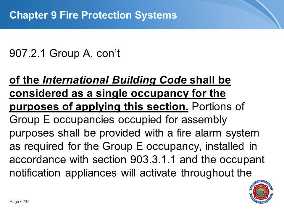 Page 234 Chapter 9 Fire Protection Systems 907.2.1 Group A, cont of the International Building Code shall be considered as a single occupancy for the