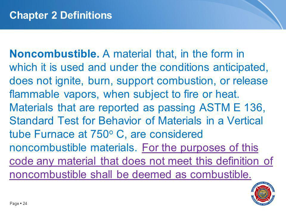 Page 24 Chapter 2 Definitions Noncombustible. A material that, in the form in which it is used and under the conditions anticipated, does not ignite,