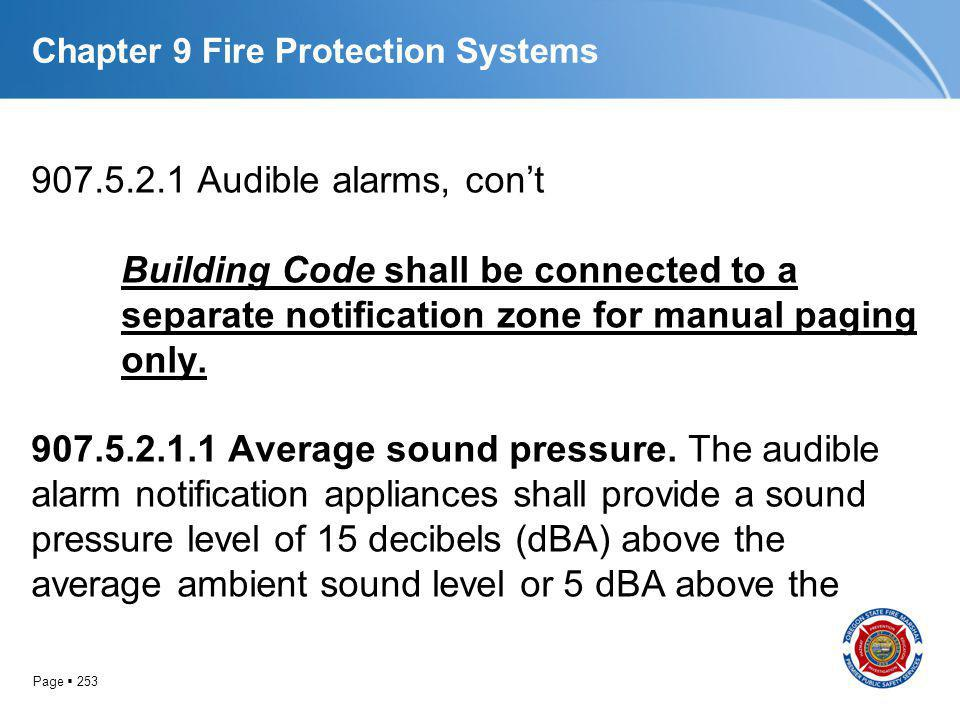 Page 253 Chapter 9 Fire Protection Systems 907.5.2.1 Audible alarms, cont Building Code shall be connected to a separate notification zone for manual