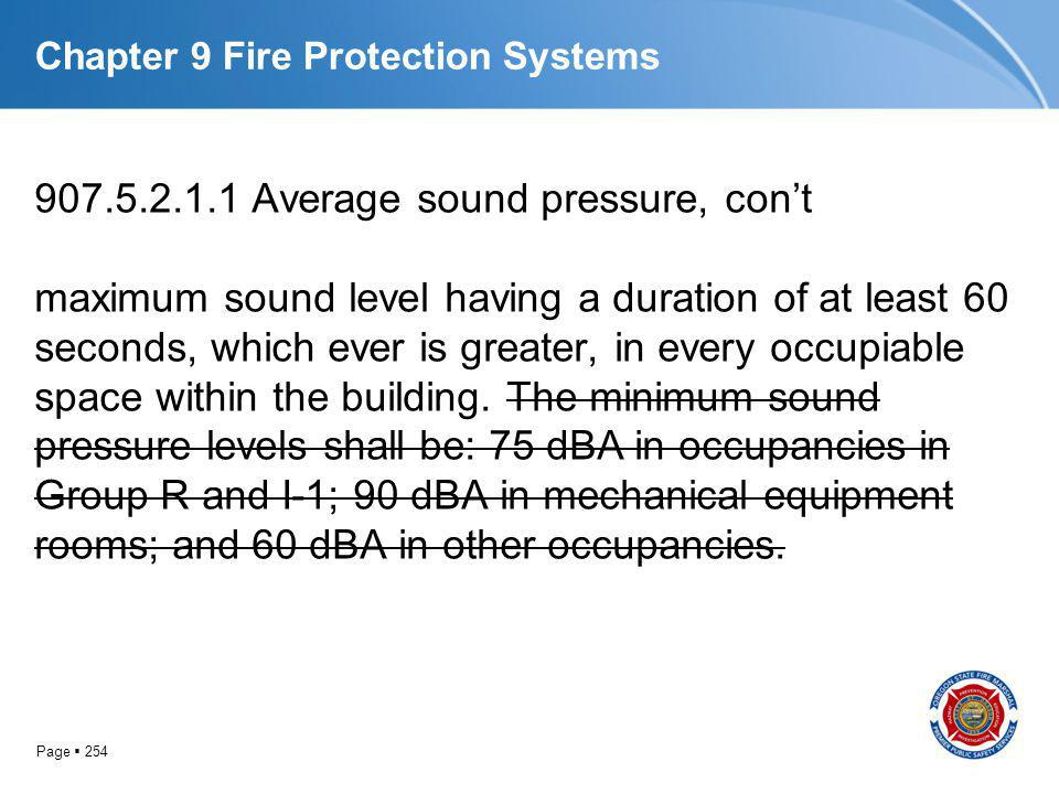 Page 254 Chapter 9 Fire Protection Systems 907.5.2.1.1 Average sound pressure, cont maximum sound level having a duration of at least 60 seconds, whic