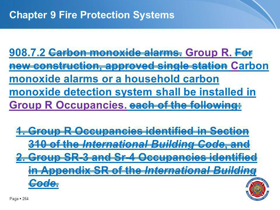 Page 264 Chapter 9 Fire Protection Systems 908.7.2 Carbon monoxide alarms. Group R. For new construction, approved single station Carbon monoxide alar