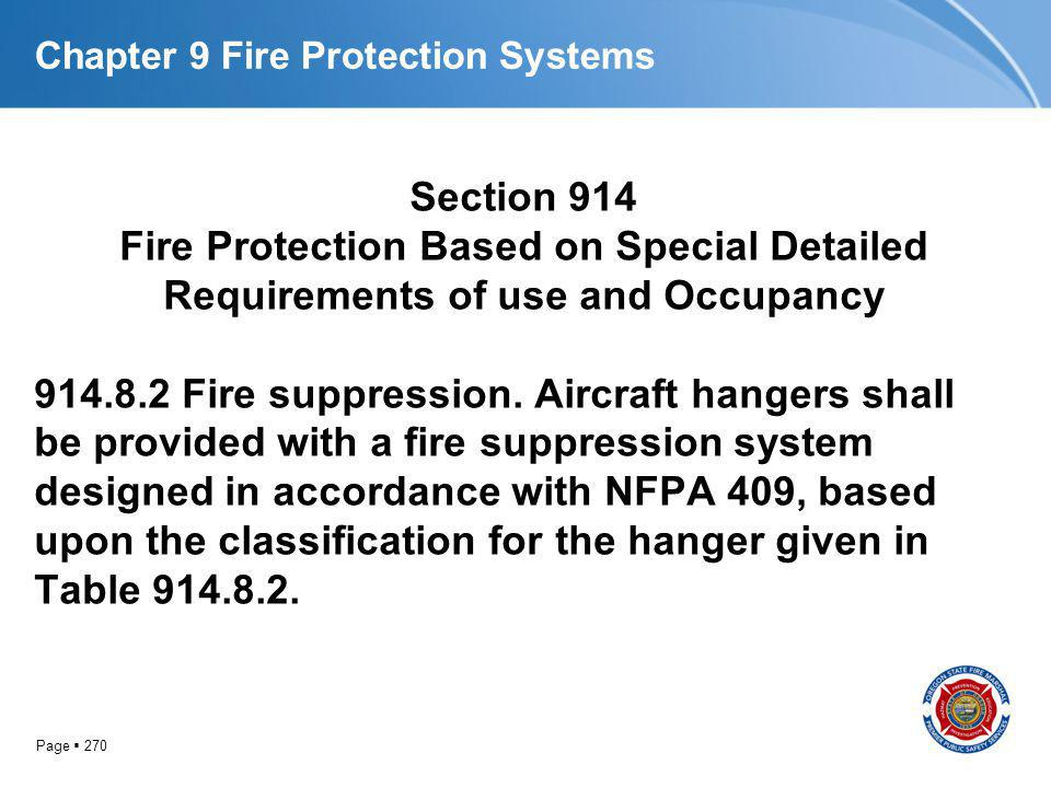Page 270 Chapter 9 Fire Protection Systems Section 914 Fire Protection Based on Special Detailed Requirements of use and Occupancy 914.8.2 Fire suppre