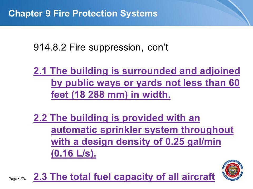 Page 274 Chapter 9 Fire Protection Systems 914.8.2 Fire suppression, cont 2.1 The building is surrounded and adjoined by public ways or yards not less