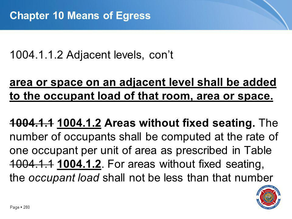 Page 280 Chapter 10 Means of Egress 1004.1.1.2 Adjacent levels, cont area or space on an adjacent level shall be added to the occupant load of that ro