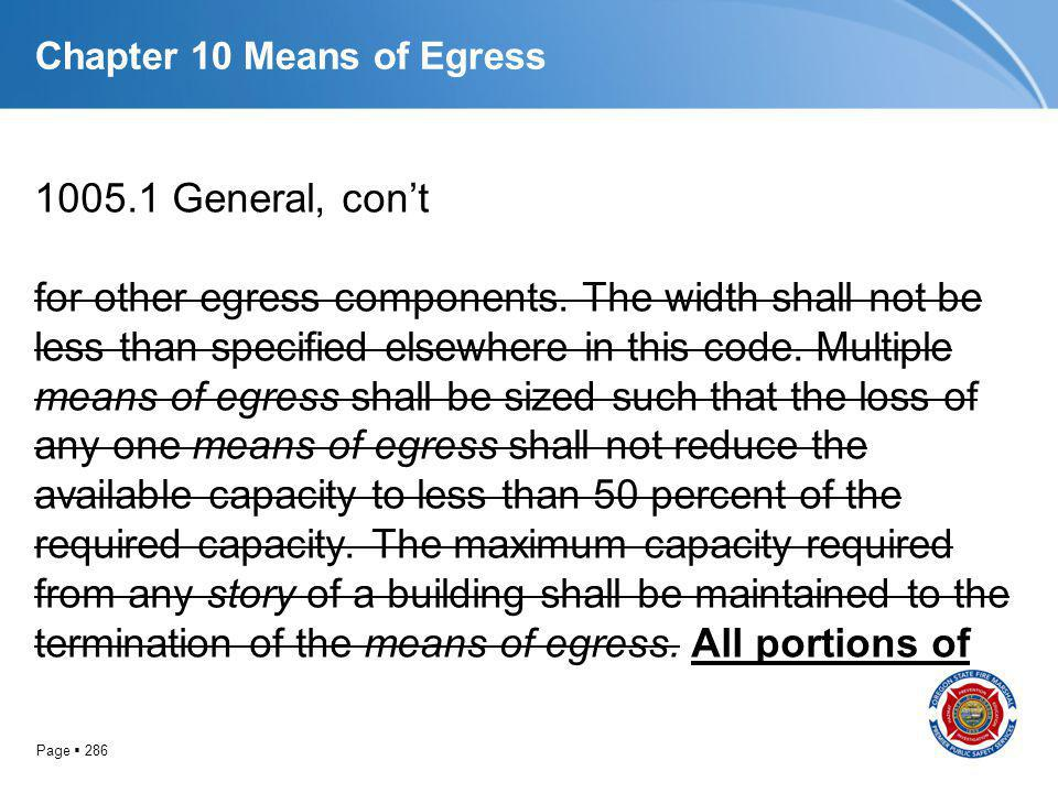 Page 286 Chapter 10 Means of Egress 1005.1 General, cont for other egress components. The width shall not be less than specified elsewhere in this cod