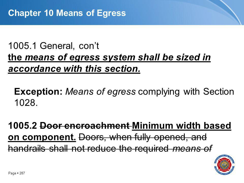 Page 287 Chapter 10 Means of Egress 1005.1 General, cont the means of egress system shall be sized in accordance with this section. Exception: Means o