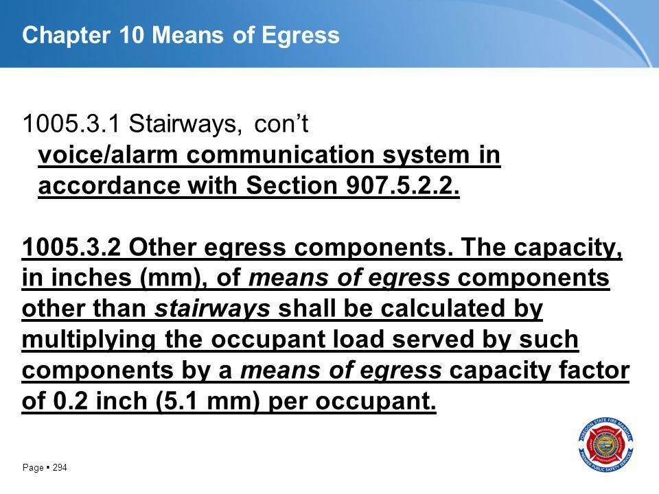 Page 294 Chapter 10 Means of Egress 1005.3.1 Stairways, cont voice/alarm communication system in accordance with Section 907.5.2.2. 1005.3.2 Other egr