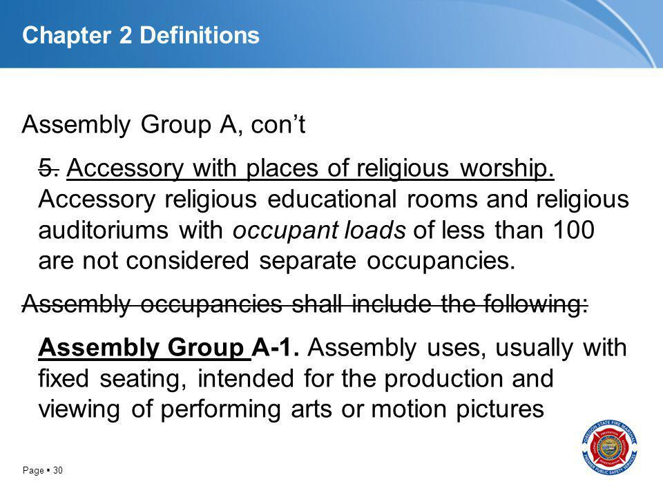 Page 30 Chapter 2 Definitions Assembly Group A, cont 5. Accessory with places of religious worship. Accessory religious educational rooms and religiou