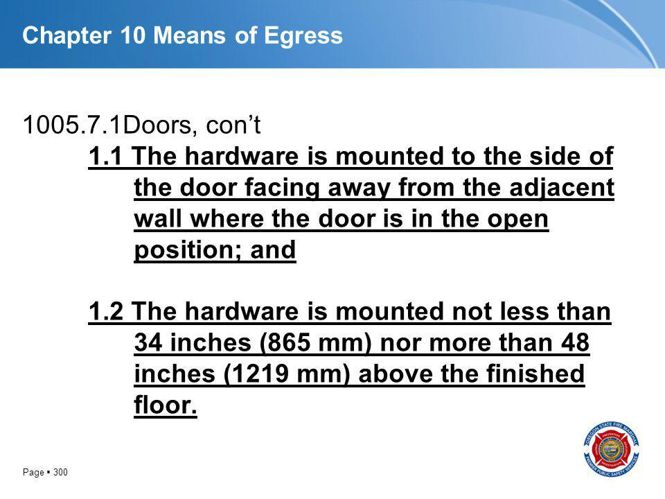 Page 300 Chapter 10 Means of Egress 1005.7.1Doors, cont 1.1 The hardware is mounted to the side of the door facing away from the adjacent wall where t