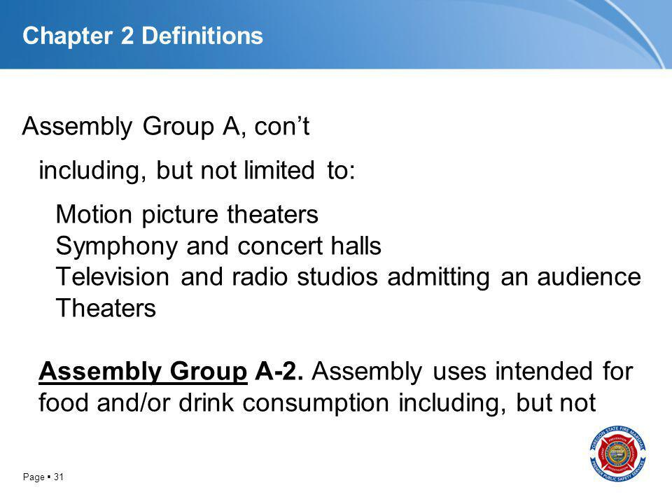 Page 31 Chapter 2 Definitions Assembly Group A, cont including, but not limited to: Motion picture theaters Symphony and concert halls Television and