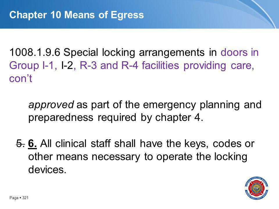 Page 321 Chapter 10 Means of Egress 1008.1.9.6 Special locking arrangements in doors in Group I-1, I-2, R-3 and R-4 facilities providing care, cont ap