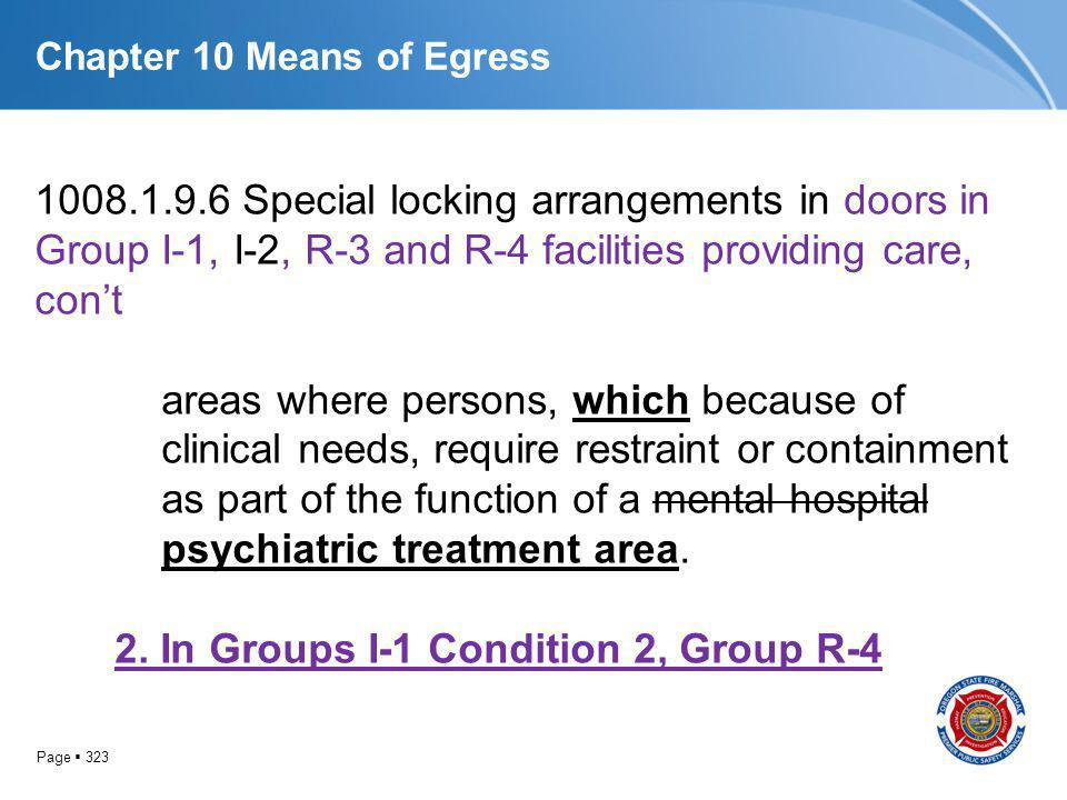 Page 323 Chapter 10 Means of Egress 1008.1.9.6 Special locking arrangements in doors in Group I-1, I-2, R-3 and R-4 facilities providing care, cont ar