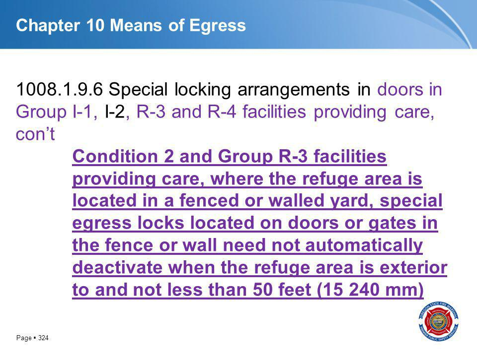 Page 324 Chapter 10 Means of Egress 1008.1.9.6 Special locking arrangements in doors in Group I-1, I-2, R-3 and R-4 facilities providing care, cont Co