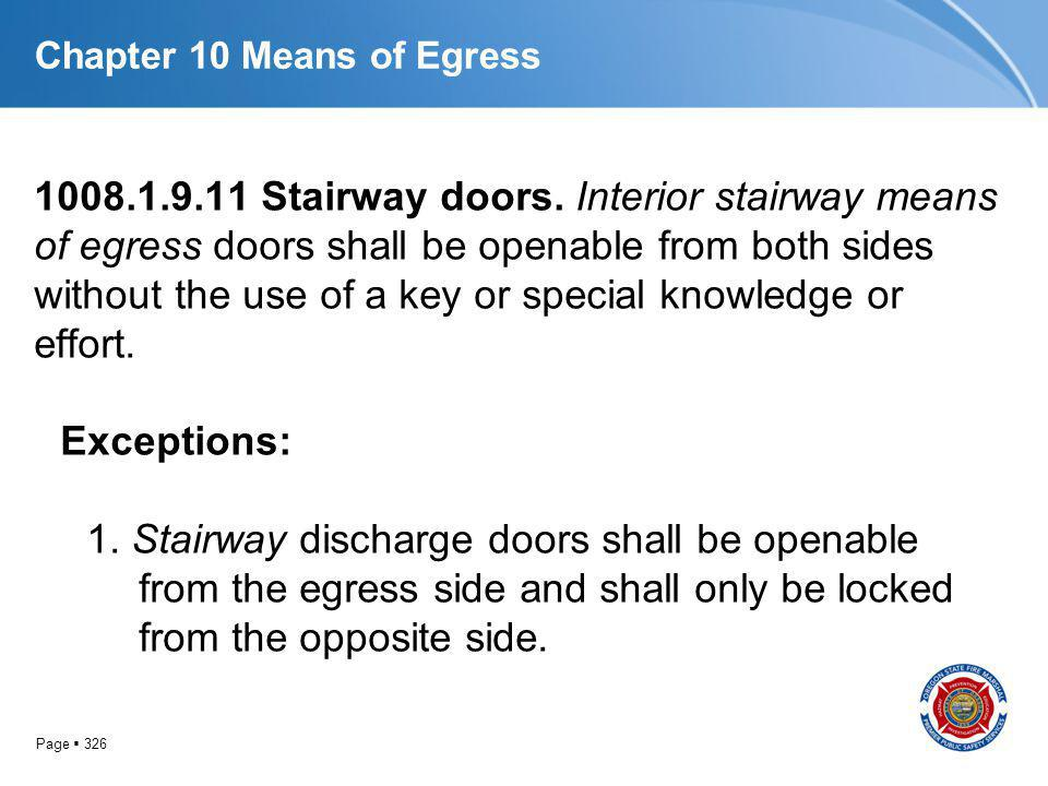 Page 326 Chapter 10 Means of Egress 1008.1.9.11 Stairway doors. Interior stairway means of egress doors shall be openable from both sides without the