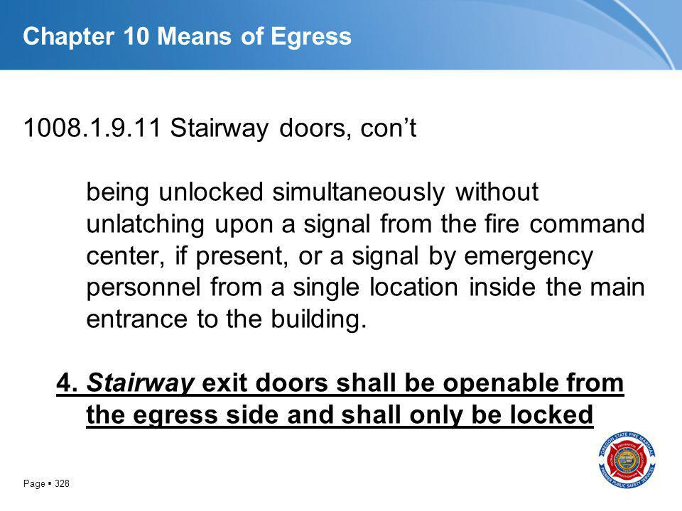 Page 328 Chapter 10 Means of Egress 1008.1.9.11 Stairway doors, cont being unlocked simultaneously without unlatching upon a signal from the fire comm