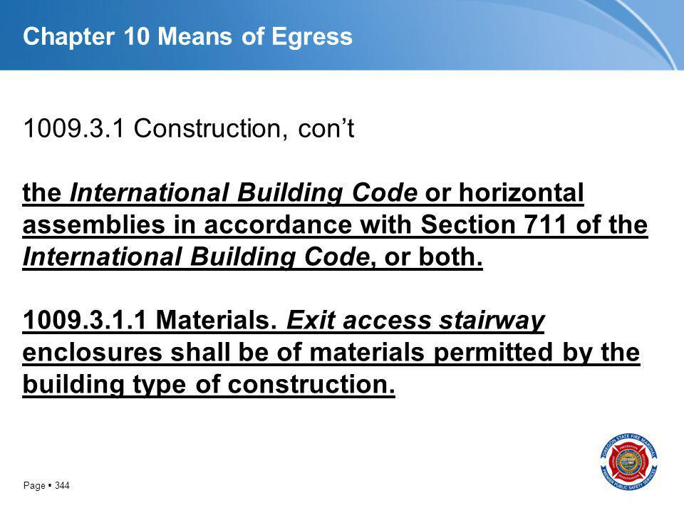 Page 344 Chapter 10 Means of Egress 1009.3.1 Construction, cont the International Building Code or horizontal assemblies in accordance with Section 71