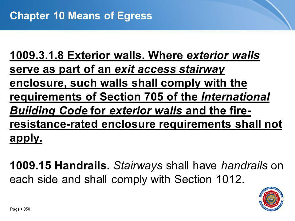 Page 350 Chapter 10 Means of Egress 1009.3.1.8 Exterior walls. Where exterior walls serve as part of an exit access stairway enclosure, such walls sha