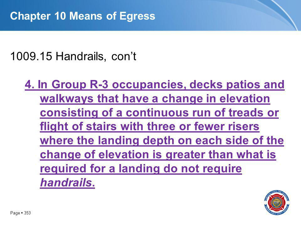 Page 353 Chapter 10 Means of Egress 1009.15 Handrails, cont 4. In Group R-3 occupancies, decks patios and walkways that have a change in elevation con