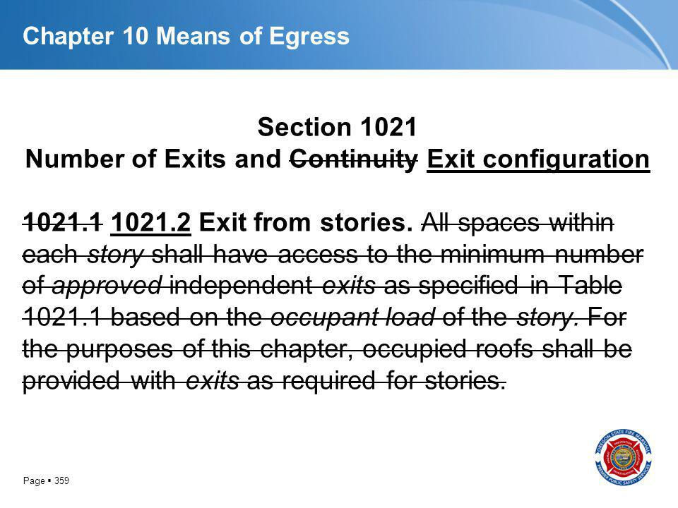 Page 359 Chapter 10 Means of Egress Section 1021 Number of Exits and Continuity Exit configuration 1021.1 1021.2 Exit from stories. All spaces within