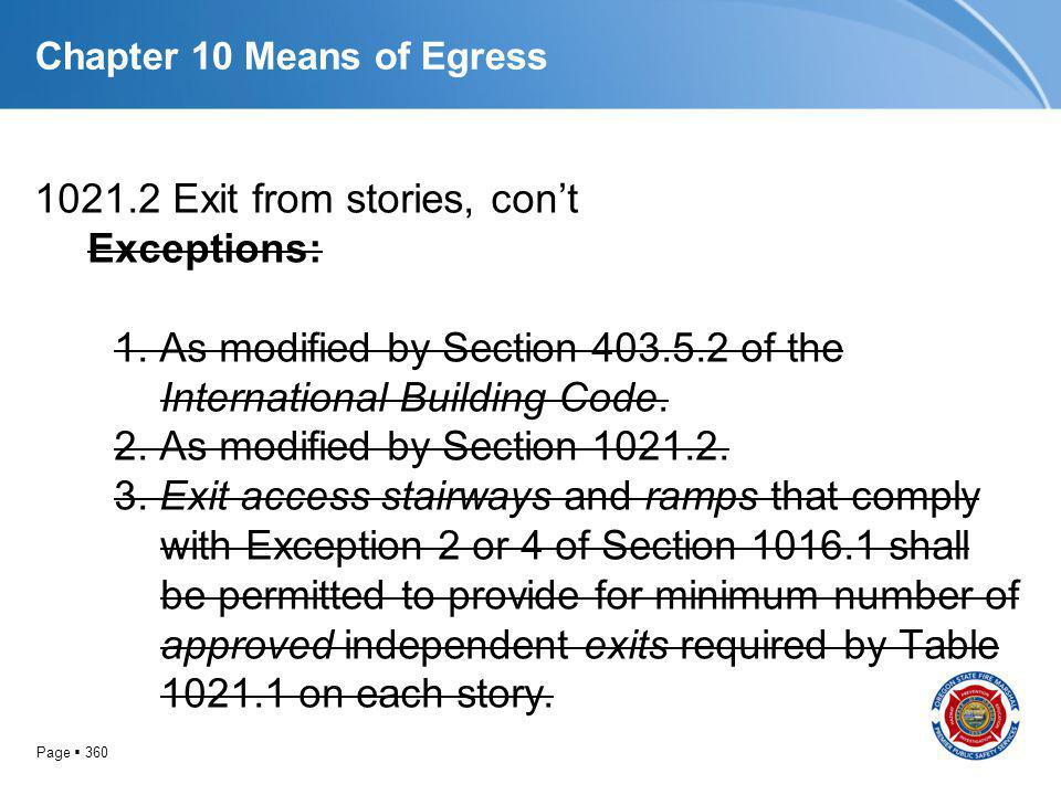 Page 360 Chapter 10 Means of Egress 1021.2 Exit from stories, cont Exceptions: 1. As modified by Section 403.5.2 of the International Building Code. 2