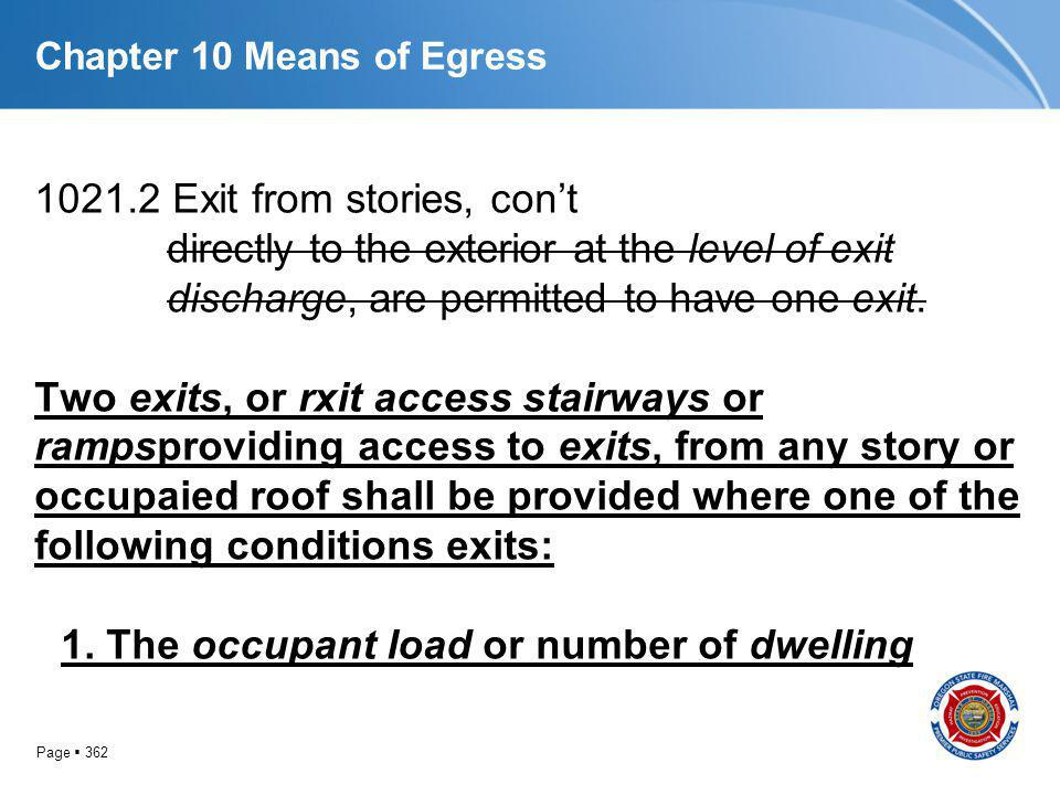 Page 362 Chapter 10 Means of Egress 1021.2 Exit from stories, cont directly to the exterior at the level of exit discharge, are permitted to have one