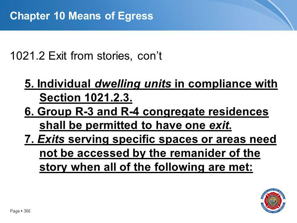 Page 366 Chapter 10 Means of Egress 1021.2 Exit from stories, cont 5. Individual dwelling units in compliance with Section 1021.2.3. 6. Group R-3 and