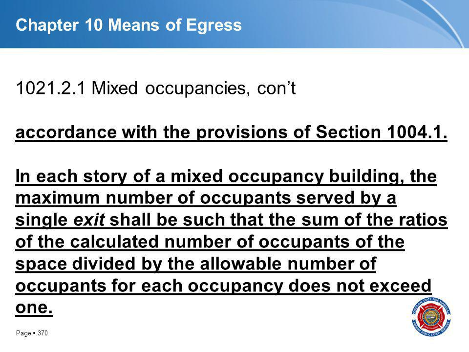 Page 370 Chapter 10 Means of Egress 1021.2.1 Mixed occupancies, cont accordance with the provisions of Section 1004.1. In each story of a mixed occupa