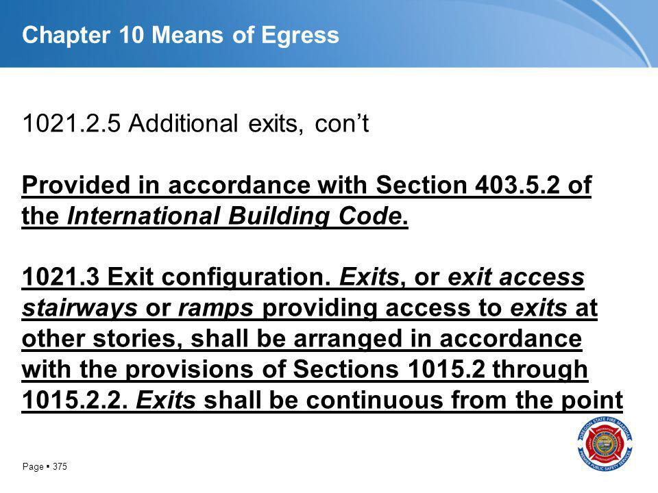 Page 375 Chapter 10 Means of Egress 1021.2.5 Additional exits, cont Provided in accordance with Section 403.5.2 of the International Building Code. 10