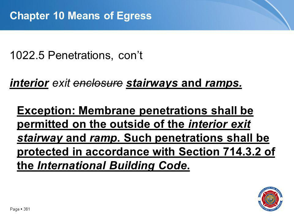 Page 381 Chapter 10 Means of Egress 1022.5 Penetrations, cont interior exit enclosure stairways and ramps. Exception: Membrane penetrations shall be p
