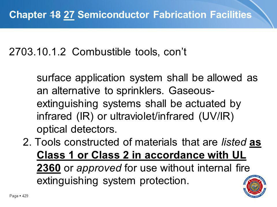 Page 429 Chapter 18 27 Semiconductor Fabrication Facilities 2703.10.1.2 Combustible tools, cont surface application system shall be allowed as an alte