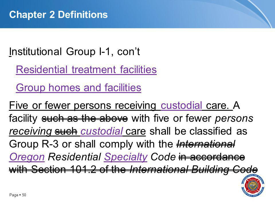 Page 50 Chapter 2 Definitions Institutional Group I-1, cont Residential treatment facilities Group homes and facilities Five or fewer persons receivin