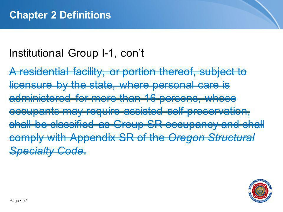 Page 52 Chapter 2 Definitions Institutional Group I-1, cont A residential facility, or portion thereof, subject to licensure by the state, where perso