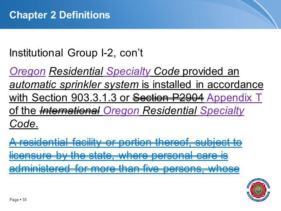 Page 55 Chapter 2 Definitions Institutional Group I-2, cont Oregon Residential Specialty Code provided an automatic sprinkler system is installed in a