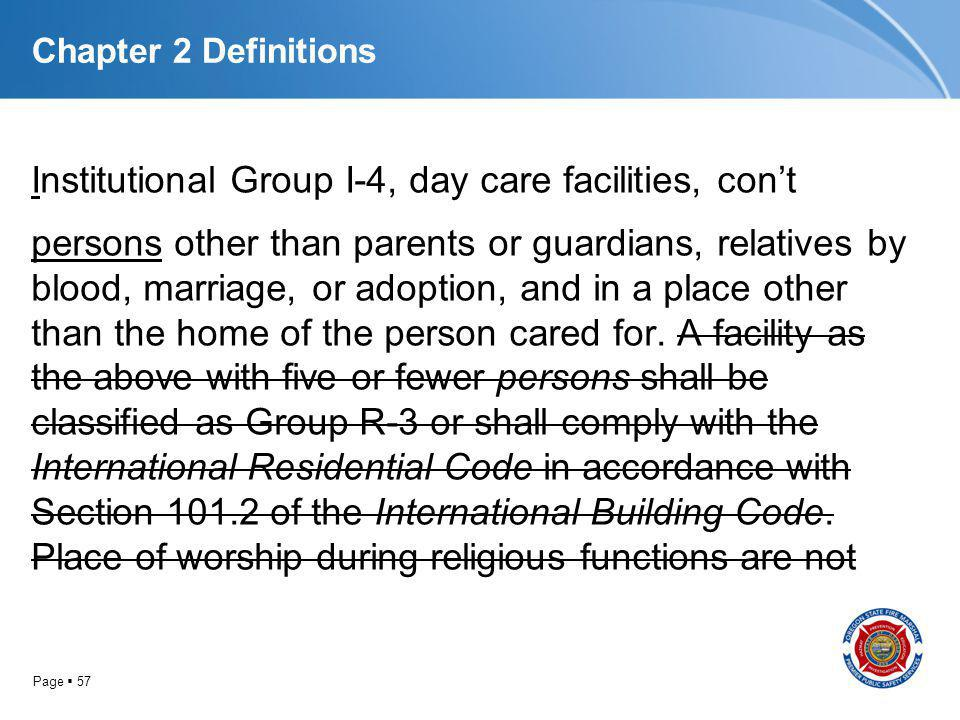 Page 57 Chapter 2 Definitions Institutional Group I-4, day care facilities, cont persons other than parents or guardians, relatives by blood, marriage