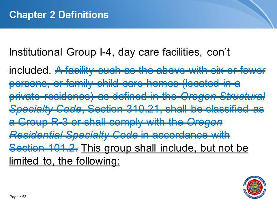 Page 58 Chapter 2 Definitions Institutional Group I-4, day care facilities, cont included. A facility such as the above with six or fewer persons, or