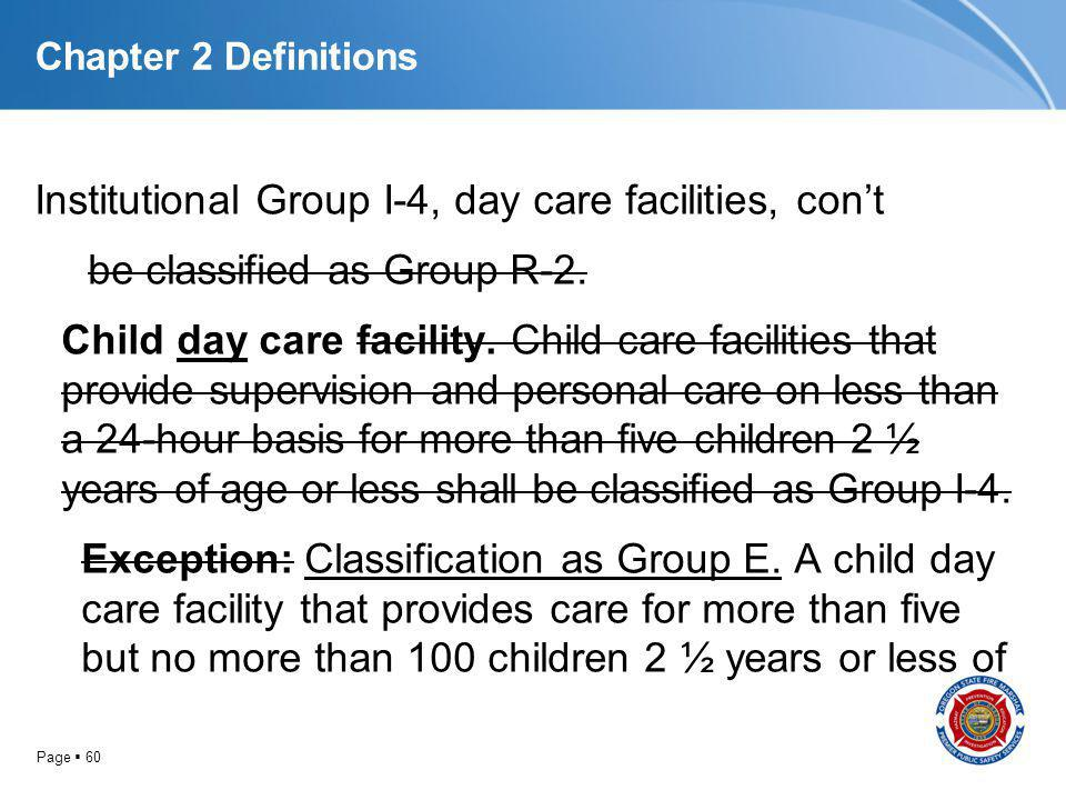 Page 60 Chapter 2 Definitions Institutional Group I-4, day care facilities, cont be classified as Group R-2. Child day care facility. Child care facil