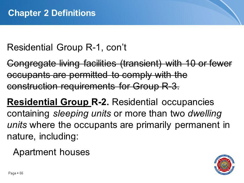 Page 66 Chapter 2 Definitions Residential Group R-1, cont Congregate living facilities (transient) with 10 or fewer occupants are permitted to comply