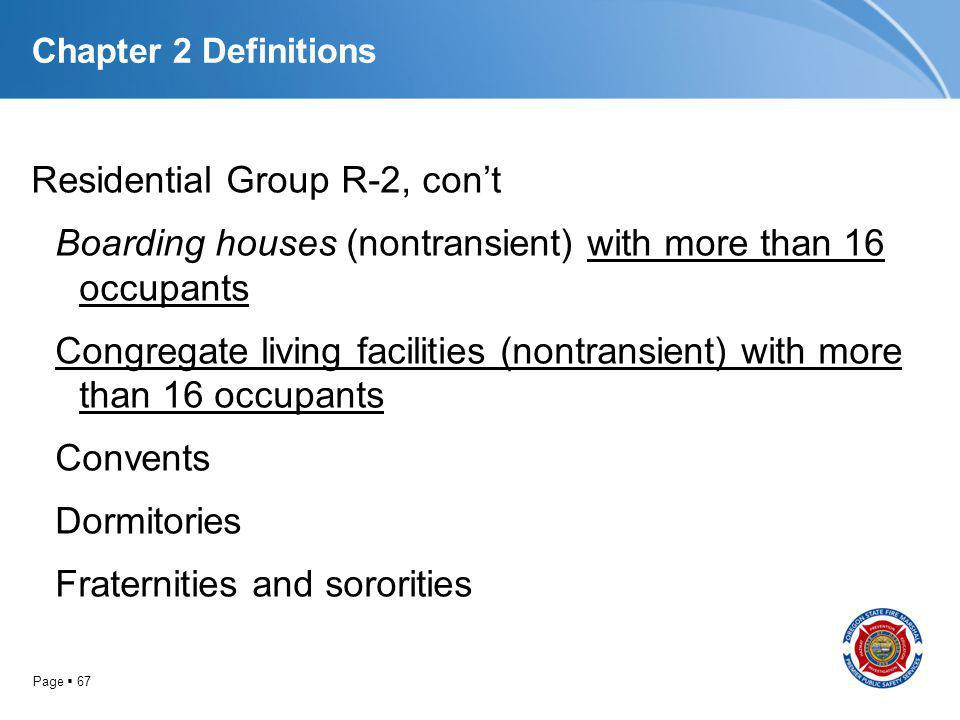 Page 67 Chapter 2 Definitions Residential Group R-2, cont Boarding houses (nontransient) with more than 16 occupants Congregate living facilities (non